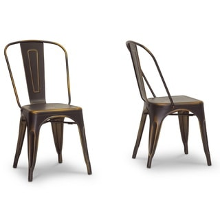 Baxton Studio French Industrial Bistro Chair in Antiqued Copper (Set of 2)