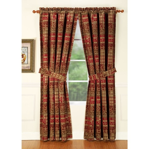 Olivia Red Curtain Panel Pair
