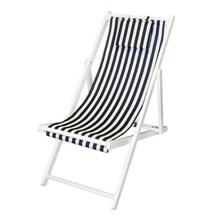 Blue/ White Stripe Folding Deck Chair