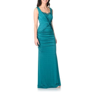 Decode 1.8 Women's Teal Knot Front Rouched Evening Gown