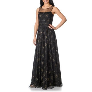 Decode 1.8 Women's Black and Gold Swirl Embellished Gown