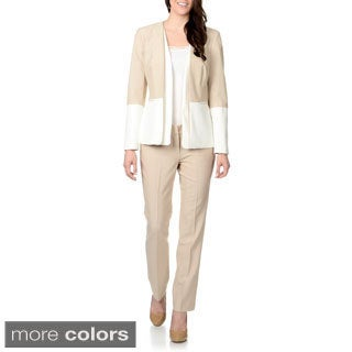 Zac & Rachel Women's Mixed Media 2-piece Pant Suit