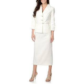 Zac & Rachel Women's Vanilla Ice 2-piece Peplum Skirt Suit