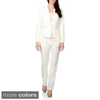 Zac & Rachel Women's Faux Leather Trim Pant Suit