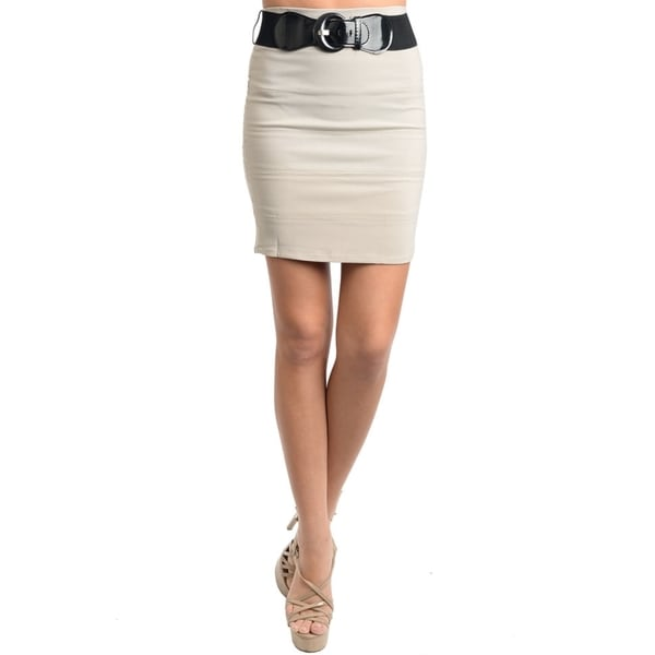 Stanzino Women's Khaki Belted Stretch Skirt