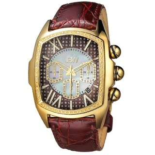 JBW Men's 'Caesar' Goldtone Stainless Steel Brown Leather Diamond Watch