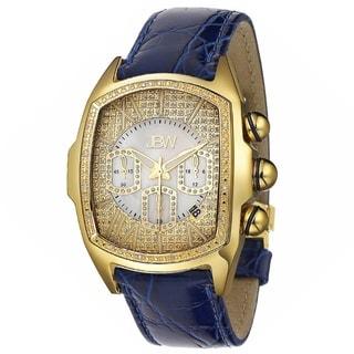 JBW Men's 'Caesar Goldtone Stainless Steel Blue Leather Diamond Watch