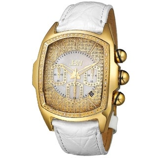 JBW Men's 'Caesar' Goldtone Stainless Steel White Leather Diamond Watch