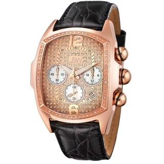 JBW Men's 'Caesar' Rose Goldtone Stainless Steel Black Leather Diamond Watch