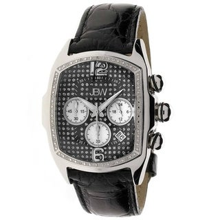 JBW Men's 'Caesar' Stainless Steel Leather Diamond Watch