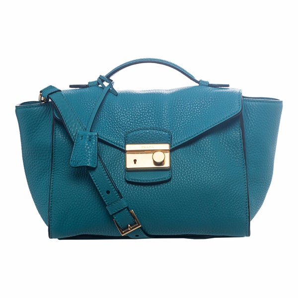 Prada \u0026#39;Daino\u0026#39; Turquoise Leather Twin Pocket Satchel - 16120159 ...