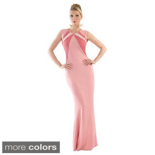 Kayla Tri-tone Full-back Zipper Semi-formal Maxi Dress