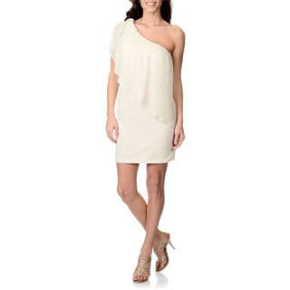 Morgan & Co. Junior Ivory/Gold One-shoulder Dress