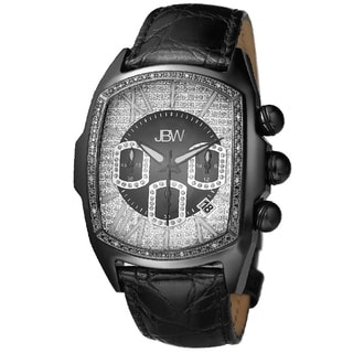 JBW Men's 'Caesar' Black Stainless Steel Leather Strap Diamond Watch