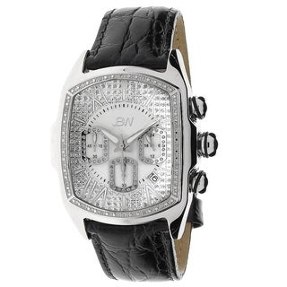 JBW Men's 'Caesar' Stainless Steel Leather Strap Diamond Watch