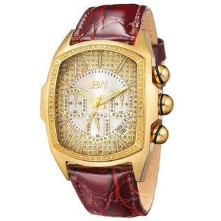 JBW Men's 'Caesar' Yellow Goldtone Brown Strap Stainless Steel Diamond Watch