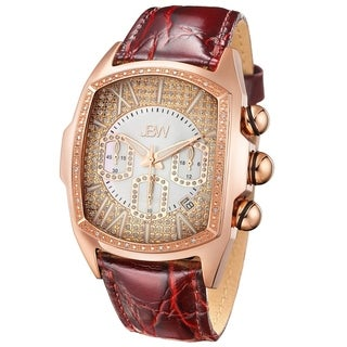 JBW Men's 'Caesar' Rose Goldtone Stainless Steel Leather Diamond Watch