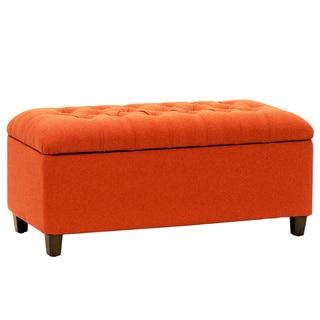 Homepop Orange Red Linen Tufted Storage Bench Overstock