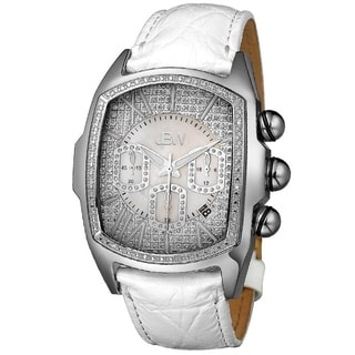 JBW Men's 'Caesar' White Leather Chronograph Watch