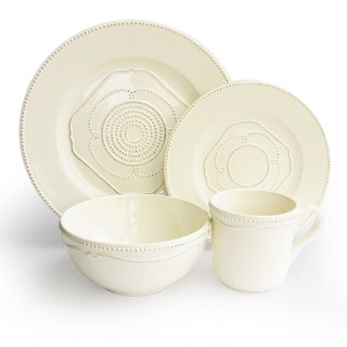 Gabrielle Cream Dotted Earthenware 16-piece Dinnerware Set