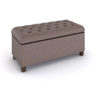 HomePop Brown Tufted Storage Bench