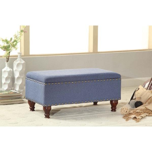 HomePop Cerulean Blue Nail Head Storage Bench