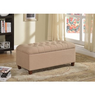 Kinfine Button-tufted Dark Vanilla Linen Home Storage Bench