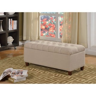 Kinfine Large Khaki Linen Upholstered Button-tufted Storage Bench