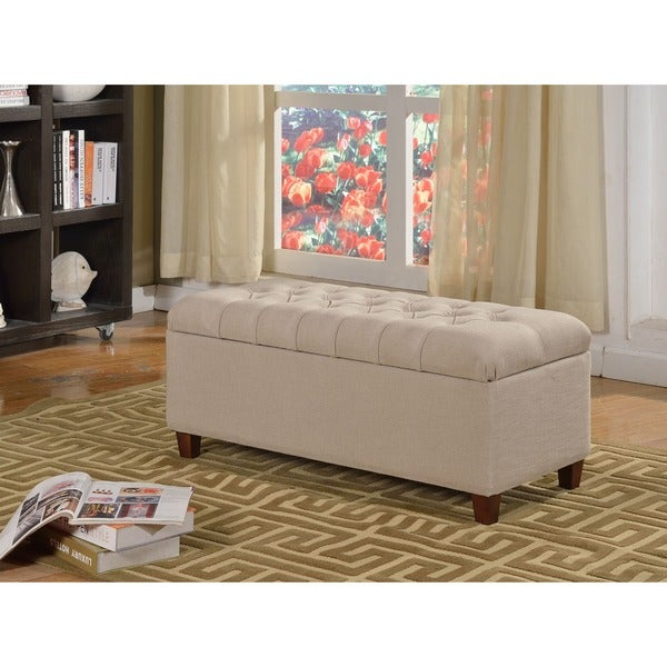 HomePop Large Khaki Linen Upholstered Button-tufted Storage Bench