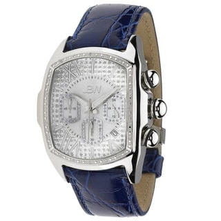 JBW Men's 'Caesar' Stainless Steel Blue Leather Diamond Watch