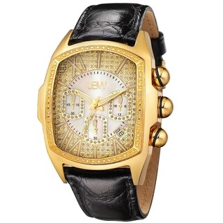 JBW Men's 'Caesar' Goldtone Stainless Steel Black Genuine Leather Diamond Watch