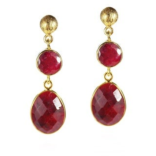 Natural Elegance Faceted Red Ruby Gold Over Silver Earrings (Thailand)