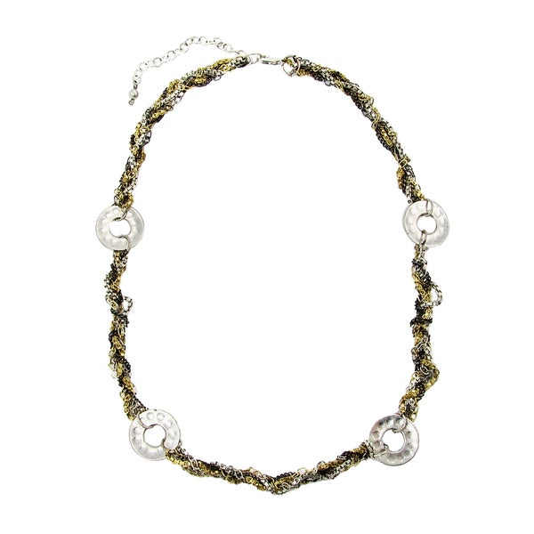 Handmade Dotted Disc Metallic Chainlink Necklace (India)