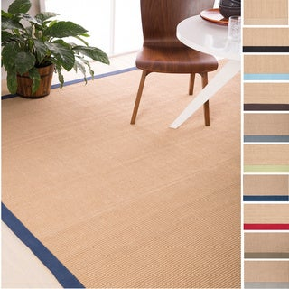 Hand-Woven Eco Natural Fiber Jute Cotton Bordered Casual Area Rug-(2' x 3')