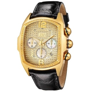 JBW Men's 'Caesar' Goldtone Stainless Steel Black Leather Diamond Watch