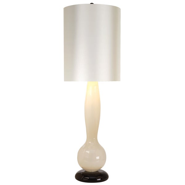 Isis Platinum 1-light Ebony Lacquer/ White Table Lamp