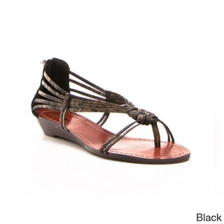 Gomax Women's Shoe Sweet Dreams-12 Mini Wedge Intertwined Strap Thong Sandals