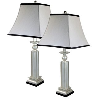 Lisa III 1-light Silver Leaf Lamp (Set of 2)