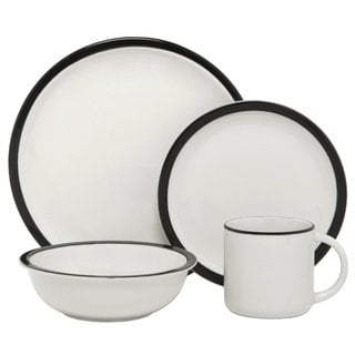 Melange 'Contempo Cantina' Black Rim 32-piece Porcelain Dinnerware Set
