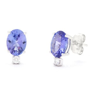 Kabella Luxe 14k 1/10ct TDW Oval Diamond Tanzanite Stud Earrings (G-H, SI1-SI2)
