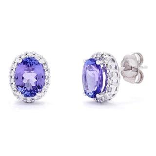 Kabella Luxe 14k 1/3ct TDW Classic Diamond Oval Tanzanite Stud Earrings (G-H, SI1-SI2)