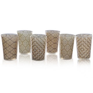 Geometric Tan set of 6 Moroccan Tea Glasses (India)