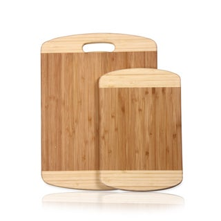 Adeco 2-piece 100-percent Natural Bamboo 0.7-inch Thick Chopping Board Set