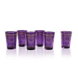 Set of 6 Purple Moroccan Tea Glasses (India)