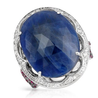 Contessa 14k White Gold Ruby, Blue Sapphire and 1/4ct TDW Diamond Ring (G-H, I-2-I3)