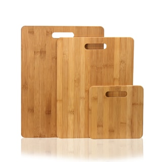 Adeco 3-piece 100-percent Natural Bamboo 3/8-inch Thick Chopping Board Set