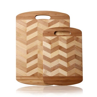 Adeco 2-piece 100-percent Natural Bamboo 0.5-inch Thick Chopping Board Set