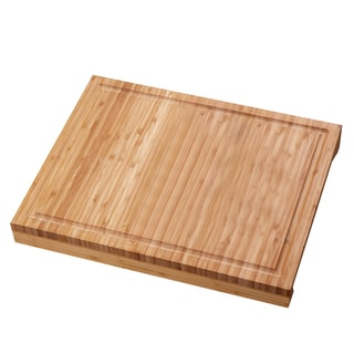 Adeco 100-percent Natural Bamboo 2-inch Thick Chopping Board
