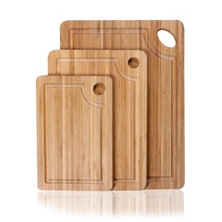 Adeco 3-piece 100-percent Natural Bamboo Chopping Board Set