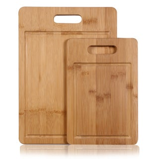 Adeco 2-piece 100-percent Natural Bamboo 0.5-inch Thick Cutting Board Set